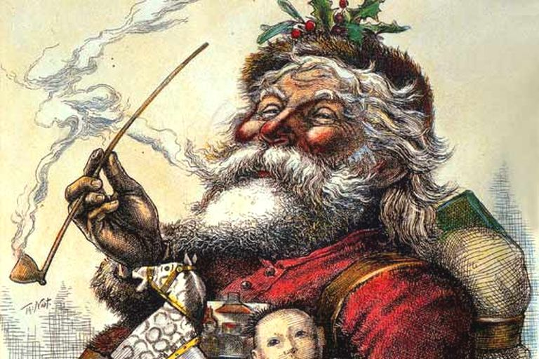 A Thomas Nast Santa, from 1881, wearing the modern Santa suit