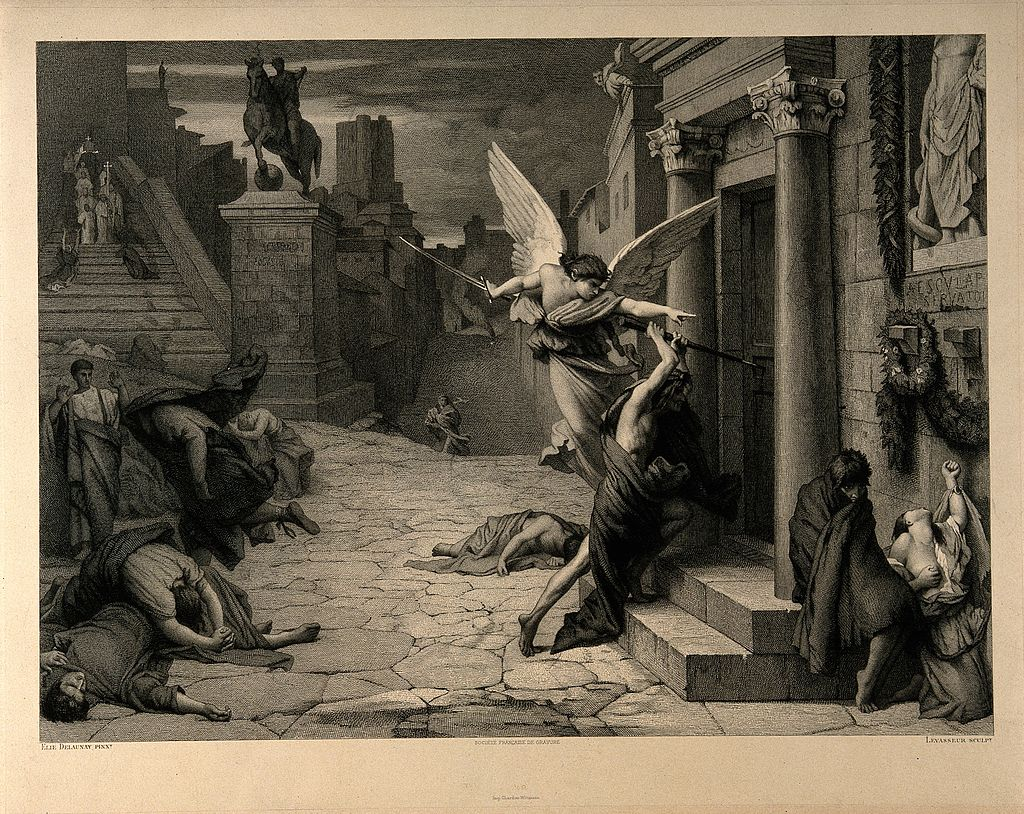 The angel of death striking a door during the plague of Rome.